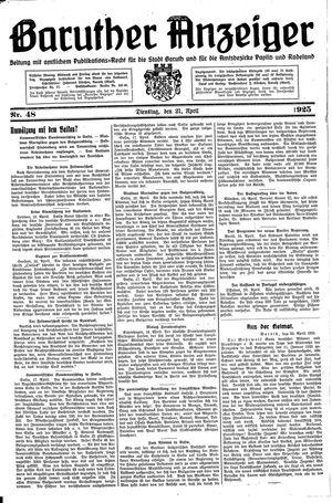 Baruther Anzeiger vom 21.04.1925