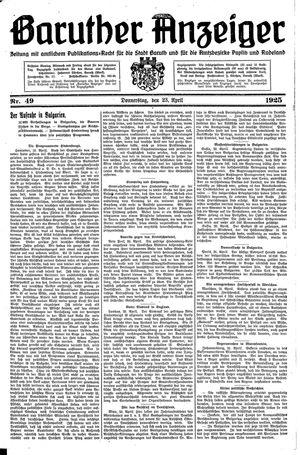 Baruther Anzeiger vom 23.04.1925