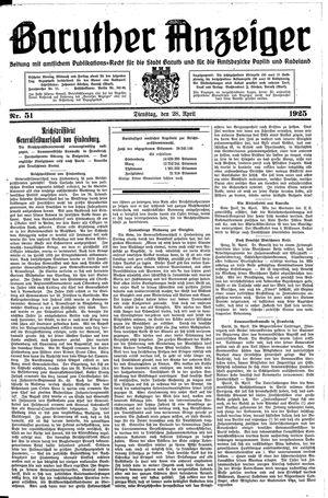 Baruther Anzeiger vom 28.04.1925