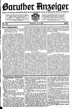 Baruther Anzeiger vom 02.05.1925
