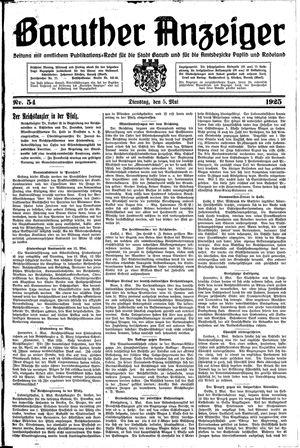 Baruther Anzeiger vom 05.05.1925