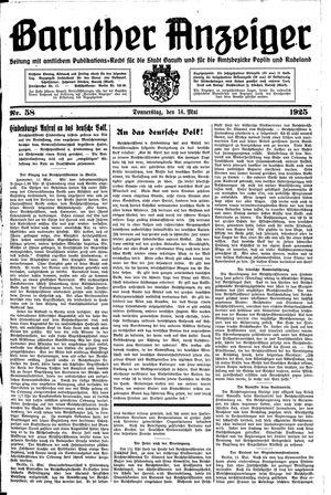 Baruther Anzeiger vom 14.05.1925