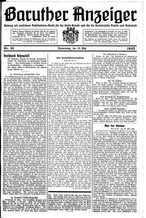 Baruther Anzeiger vom 21.05.1925
