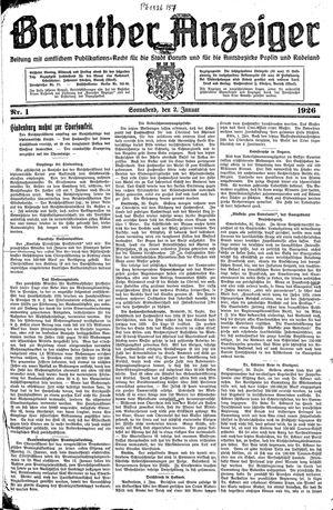 Baruther Anzeiger vom 02.01.1926