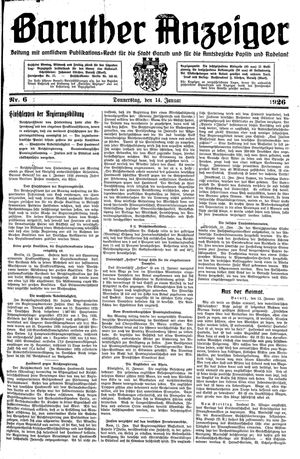 Baruther Anzeiger vom 14.01.1926
