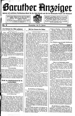 Baruther Anzeiger vom 21.01.1926