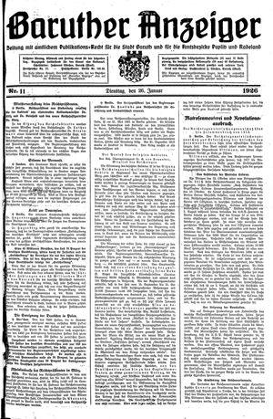 Baruther Anzeiger vom 26.01.1926