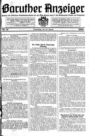 Baruther Anzeiger vom 28.01.1926