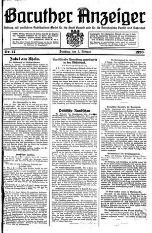 Baruther Anzeiger vom 02.02.1926