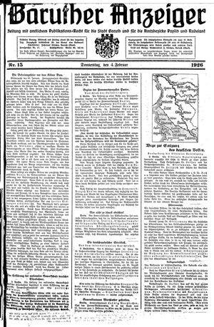 Baruther Anzeiger vom 04.02.1926