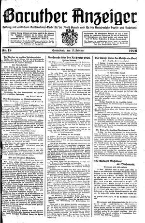 Baruther Anzeiger vom 13.02.1926