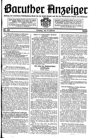 Baruther Anzeiger vom 16.02.1926