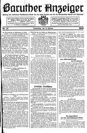 Baruther Anzeiger vom 18.02.1926