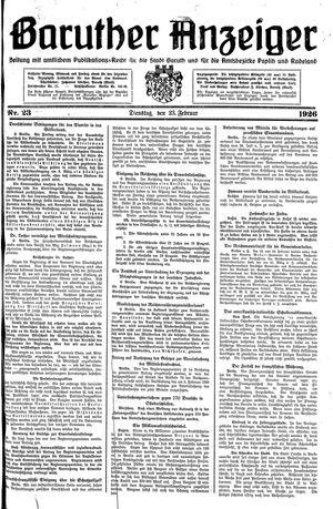 Baruther Anzeiger vom 23.02.1926