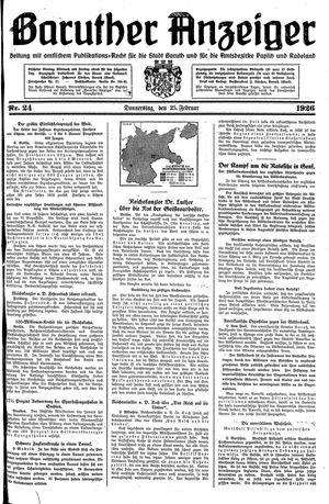 Baruther Anzeiger vom 25.02.1926