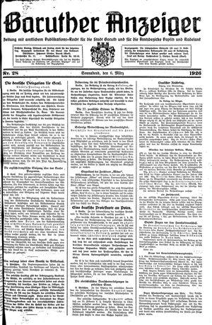 Baruther Anzeiger vom 06.03.1926