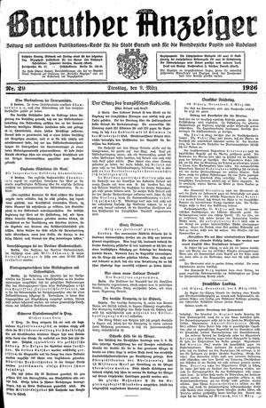 Baruther Anzeiger vom 09.03.1926