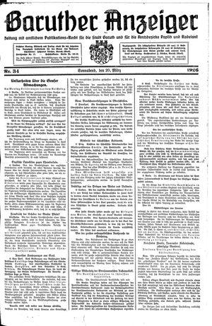 Baruther Anzeiger vom 20.03.1926