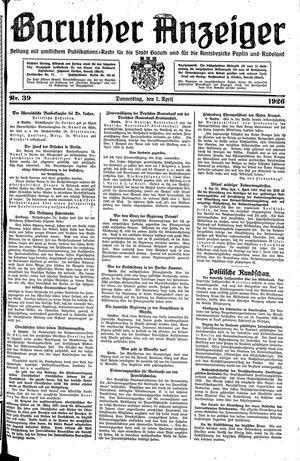 Baruther Anzeiger vom 01.04.1926