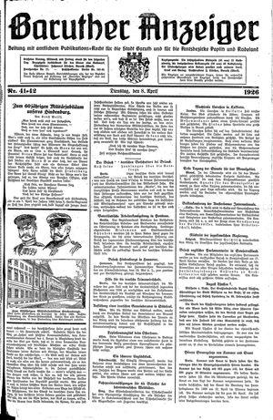 Baruther Anzeiger vom 08.04.1926
