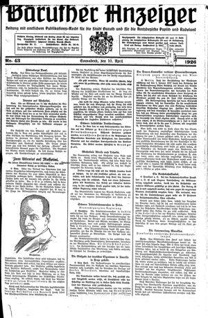 Baruther Anzeiger vom 10.04.1926
