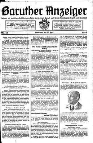 Baruther Anzeiger vom 17.04.1926