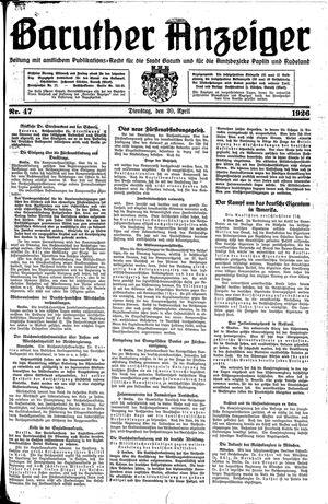 Baruther Anzeiger vom 20.04.1926