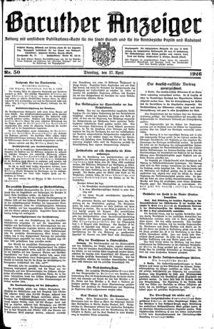 Baruther Anzeiger vom 27.04.1926