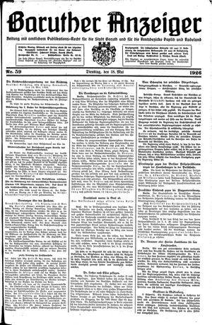 Baruther Anzeiger vom 18.05.1926