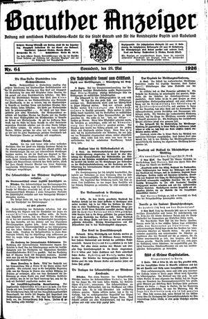 Baruther Anzeiger vom 29.05.1926