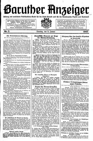 Baruther Anzeiger vom 11.01.1927