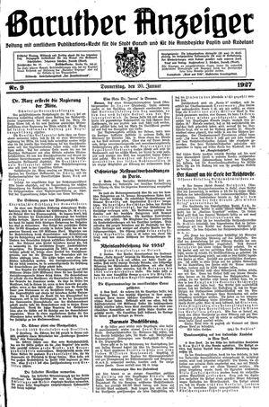Baruther Anzeiger vom 20.01.1927