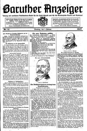 Baruther Anzeiger vom 01.02.1927