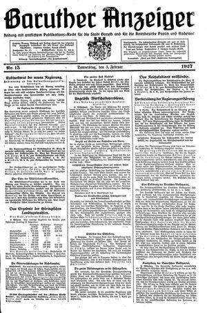 Baruther Anzeiger vom 03.02.1927