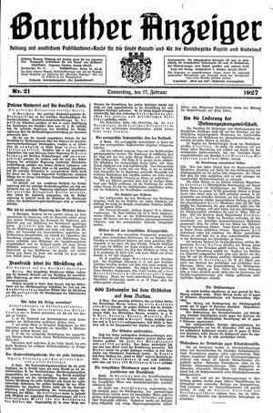 Baruther Anzeiger vom 17.02.1927