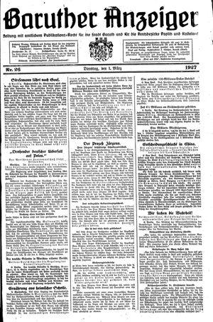 Baruther Anzeiger vom 01.03.1927