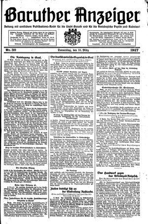 Baruther Anzeiger vom 10.03.1927