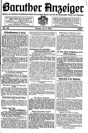 Baruther Anzeiger vom 15.03.1927