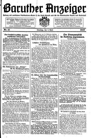 Baruther Anzeiger vom 05.04.1927