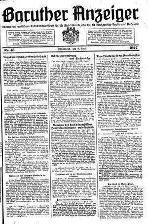 Baruther Anzeiger vom 09.04.1927