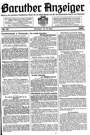 Baruther Anzeiger vom 23.04.1927