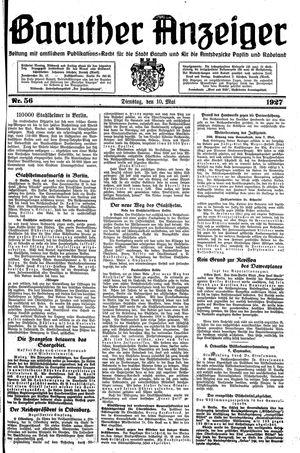 Baruther Anzeiger vom 10.05.1927