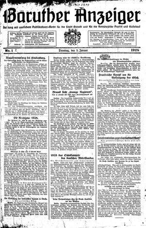 Baruther Anzeiger vom 03.01.1928