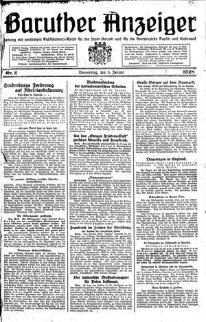 Baruther Anzeiger vom 05.01.1928