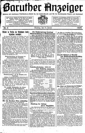 Baruther Anzeiger vom 10.01.1928