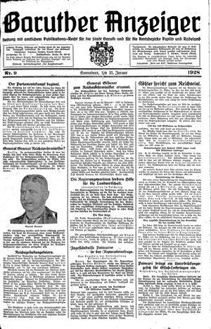 Baruther Anzeiger vom 21.01.1928
