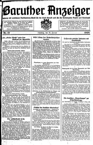 Baruther Anzeiger vom 31.01.1928
