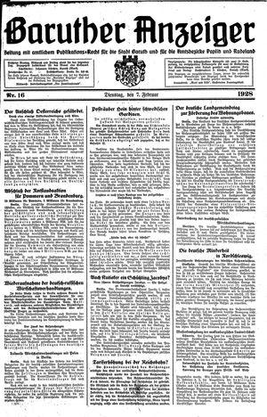 Baruther Anzeiger vom 07.02.1928
