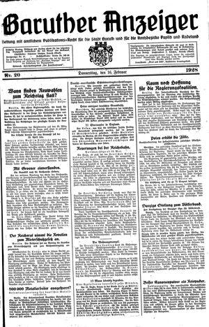 Baruther Anzeiger vom 16.02.1928