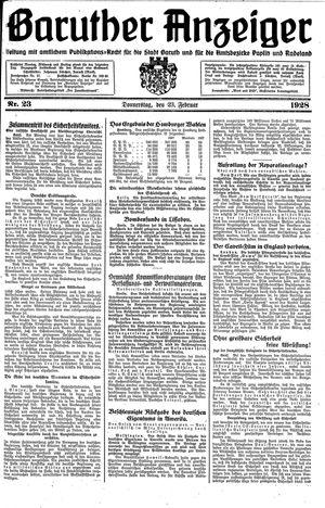 Baruther Anzeiger vom 23.02.1928
